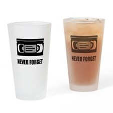 VHS Cassette Tape Never Forget Drinking Glass