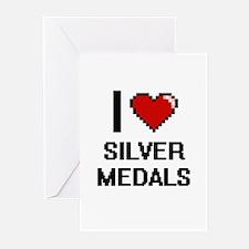 I Love Silver Medals Digital Design Greeting Cards