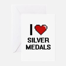 I Love Silver Medals Digital Design Greeting Cards