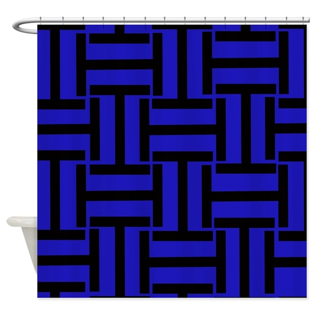 Black And Blue T Weave Shower Curtain By Stripstrapstriped