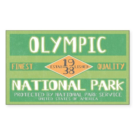 Olympic National Park (Retro) Sticker (Rectangular