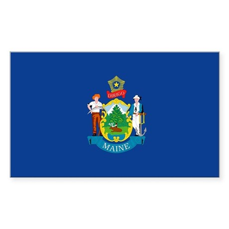 Maine State Flag Rectangle Sticker