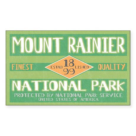 Mount Rainier National Park (Retro) Sticker (Recta