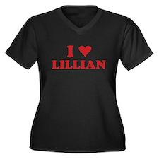I LOVE LILLIAN Women's Plus Size V-Neck Dark T-Shi