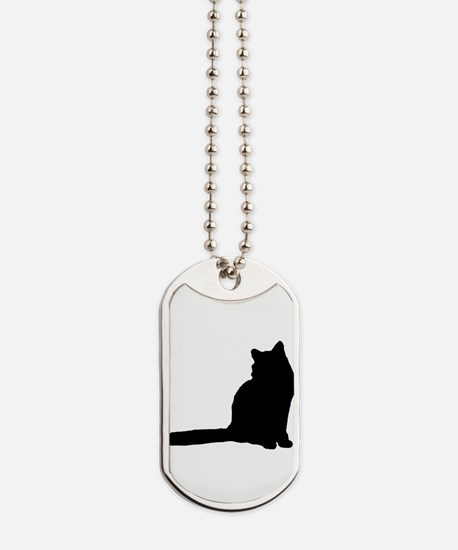 Norwegian forest cat silhouette Dog Tags
