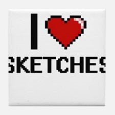 I Love Sketches Digital Design Tile Coaster
