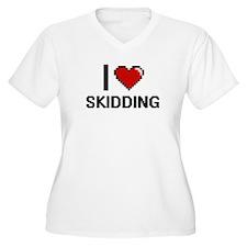 I Love Skidding Digital Design Plus Size T-Shirt