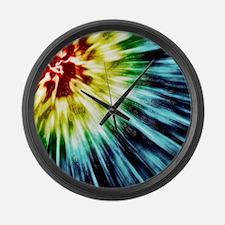 Abstract Dark Tie Dye Large Wall Clock