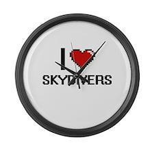 I love Skydivers Digital Design Large Wall Clock