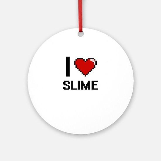 I love Slime Digital Design Round Ornament