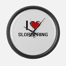 I love Slobbering Digital Design Large Wall Clock