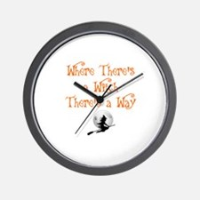 HALLOWEEN - WHERE THERE'S A WITCH THERE Wall Clock
