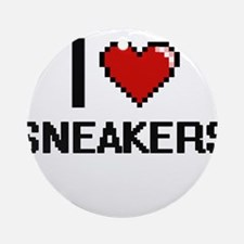I love Sneakers Digital Design Round Ornament