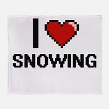 I love Snowing Digital Design Throw Blanket