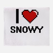 I love Snowy Digital Design Throw Blanket