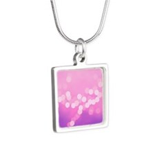 Girly Pink Purple Dots Silver Square Necklace