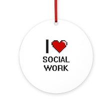 I love Social Work Digital Design Round Ornament