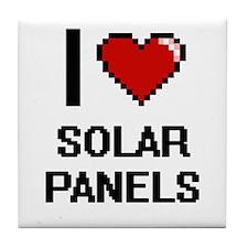 I Love Solar Panels Digital Design Tile Coaster