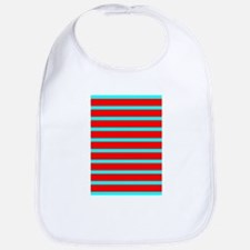 Turquoise Blue Red Stripes Angela's Fave Bib
