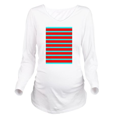 Turquoise blue red stri women 39 s cap sleeve long sleeve for Aqua blue color t shirt