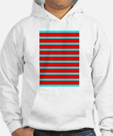 Turquoise Blue Red Stripes Angel Hoodie