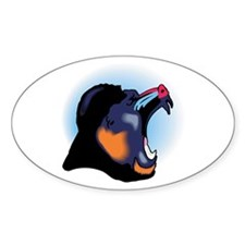 Snarling Baboon Design Oval Decal