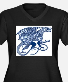 Celtic Knotwork Dragon, Blue Plus Size T-Shirt