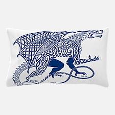 Celtic Knotwork Dragon, Blue Pillow Case