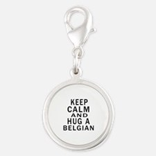 Keep Calm And Belgian Designs Silver Round Charm