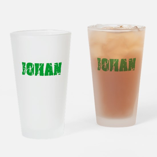 Johan Name Weathered Green Design Drinking Glass