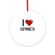 I love Spines Digital Design Round Ornament