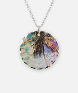 Abstract Rainbow Palm Tree Necklace