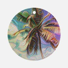 Abstract Rainbow Palm Tree Round Ornament
