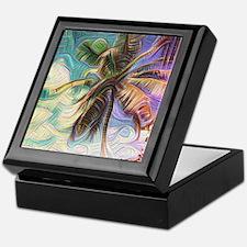 Abstract Rainbow Palm Tree Keepsake Box