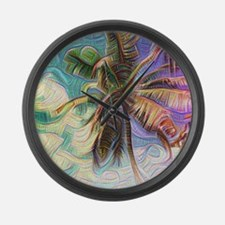 Abstract Rainbow Palm Tree Large Wall Clock