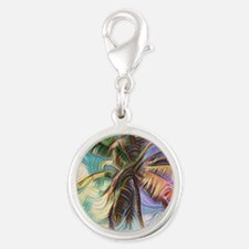 Abstract Rainbow Palm Tree Silver Round Charm