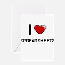 I love Spreadsheets Digital Design Greeting Cards