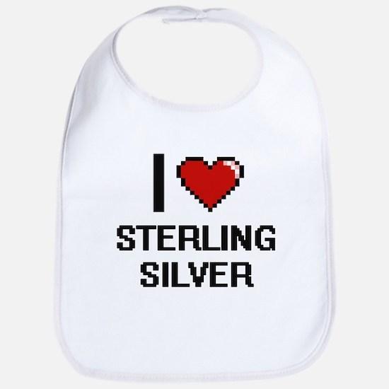 I love Sterling Silver Digital Design Bib