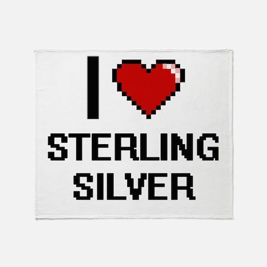 I love Sterling Silver Digital Desig Throw Blanket
