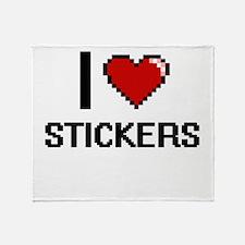 I love Stickers Digital Design Throw Blanket
