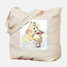 Fighting Wolves Tote Bag
