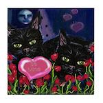 BLACK CAT VALENTINE Tile Coaster