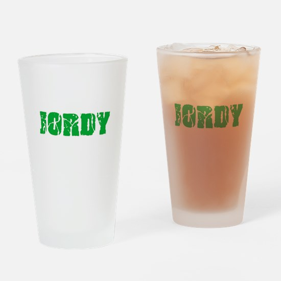 Jordy Name Weathered Green Design Drinking Glass