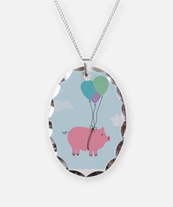 Blue Sky When Pigs Can Fly Illustration Necklace