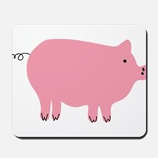 Pink Pig Silhouette Illustration Mousepad