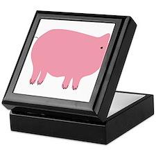 Pink Pig Silhouette Illustration Keepsake Box