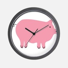 Pink Pig Silhouette Illustration Wall Clock