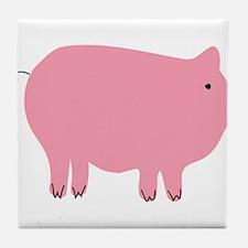 Pink Pig Silhouette Illustration Tile Coaster