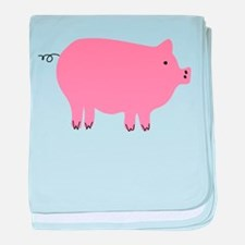 Pink Pig Silhouette Illustration baby blanket