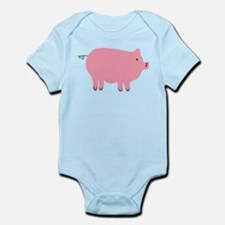 Pink Pig Silhouette Illustration Body Suit